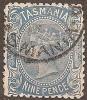 TASMANIA - 1905 9d Queen Victoria, INVERTED Watermark 13 (crown/A), Perf 12 X 12½. Scott 109. Used - Gebruikt