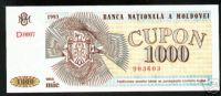 MOLDOVA 1000 CUPON 1993 PICK # 3 UNC. - Moldavië