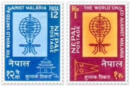 MALARIA ERADICATION DRIVE 2 STAMP SERIES NEPAL 1962 MINT MNH - Ziekte