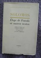 Éloge De Foscolo Et Autres Textes - Poésie