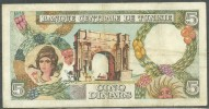 TUNISIA CENTRAL BANK 5 / CINQ / FIVE DINARS 1965 BANKNOTE - FREE SHIPPING - Tunisia