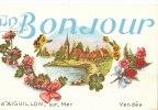 85 AIGUILLON Sur MER  Belle CPA Fantaisie  UN BONJOUR  Fleurs Pensées  Paysage - Unclassified