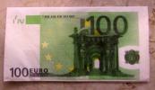 Alt072 Tovagliolo Di Carta Con Riprodotta Banconota Da 100 Euro, Serviette Papier Avec Reproduction Billet 100 Euros - Reclameservetten