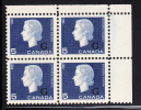 Canada MNH Scott #O49 5c Cameo With ´G´ Overprint Upper Right Plate Block (blank) - Overprinted
