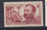COTE D'IVOIRE N° 139 : 65c BRUN ROUGE : CINQUANTENAIRE DU VOYAGE DE BINGER - Costa D'Avorio (1892-1944)