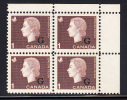 Canada MNH Scott #O46 1c Cameo With ´G´ Overprint Upper Right Plate Block (blank) - Overprinted