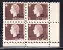 Canada MNH Scott #O46 1c Cameo With ´G´ Overprint Lower Right Plate Block (blank) - Officials