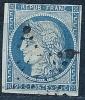 """YT 4 """" Type Cérès 25c. Bleu  """" 1850 Oblitération étoile De Points - 1849-1850 Cérès"""