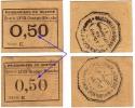 1914 / 1918  P.O.W.  // Lyon -Grange-Blanche // 2 X 50 Centimes - Bons & Nécessité