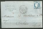 """N° 60A   """"LE CLOU SOUS LE NEZ"""" Sur Lettre De PARIS - ETOILE 24 - 1871-1875 Ceres"""
