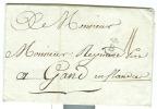 France - Précurseur De Bordeaux Vers Gand En Flandre Du 09/05/1783, Cachet B Avec Lys, Taxe 11 Décimes, See Scan - Poststempel (Briefe)