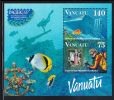 Vanuatu MNH Scott #696a Souvenir Sheet Of 2 Lady, Wreck Of President Coolidge - Year Of The Coral Reef - Vanuatu (1980-...)