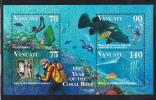 Vanuatu MNH Scott #696b Souvenir Sheet Of 4 Lady, Wreck Of Pres. Coolidge, Reef, Grouper - Year Of The Coral Reef - Vanuatu (1980-...)