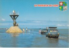 CPSM GOIS Passage Noimoutier Vendée AUTOS PEUGEOT Flot Recouvrant Chaussée Balise Blason Si Bandes Jaunes Dues Au Scan - Ile De Noirmoutier