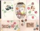Destockage!  Les  5 Cartes, Dessins, Aquarelles, Collage De Timbres = 5 Euros, Prix De Départ. - Timbres (représentations)