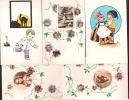 Destockage!  Les 5 Cartes, Dessins Aquarellés Et Collage De Timbres = 5 €, Prix De Départ. - Timbres (représentations)