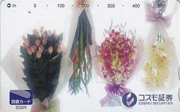 Carte Japon - Fleur Fleurs ORCHIDEE ROSE GLAIEUL  - ORCHID Flower Japan Prepaid Card - Blume Tosho Karte  ORQUIDEA 1503 - Fleurs