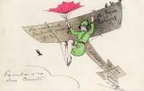 CPA; Femme Robe Verte, Attachée Sous Aéroplane, Voeux 1912. - ....-1914: Precursors