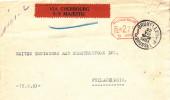 953/18 -  Lettre Affranchissement Mécanique BRUXELLES 1933 Vers USA- RARE Etiquette De Routage VIA CHERBOURG S/SMajestic - Franking Machines