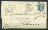 N° 60A  - 68 G1 -  Sur Lettre Oblitérée De PARIS -  Le R De FRANC A Disparu - 1871-1875 Ceres