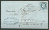 N° 60A  - 76 G1 -  Sur Lettre Oblitérée De PARIS -  TRAIT SOUS LA LEVRE INFERIEURE - 1871-1875 Ceres