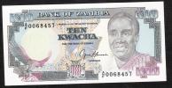 ZAMBIA  P31b 10 KWACHA 1989 #A/F00----- Signature 9 UNC. - Zambia