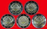 """5 Fois 2 Euros """"10 Ans Euro FIDUCIAIRE"""" Commémorative ALLEMAGNE Les  5 Ateliers 2012 A, D, F, G, J En UNC Neuves En Sach - Deutschland"""