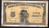 AFRIQUE OCCIDENTALE (French West Africa)  :  5 Francs - 1942  - P28a - 0544693 - Banconote