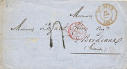 977/18 - Lettre Non Affranchie DIXMUDE 1857 Vers BORDEAUX France - Taxée 4 Décimes - Signée Douchy - Belgium