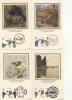 BENHAM SILK POSTCARDS - 1982 CHARLES DARWIN - SET OF 4 - FDC - FDC
