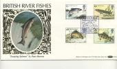 BENHAM SILK COVER - 1983 RIVER FISH - SALMON LEAP CANCEL - FDC