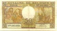BELGIUM 50 FRANCS LIGHT BROWN MAN & WOMAN FRONT & BACK DATED 03-04-1956  P133b VF READ DESCRIPTION - [ 2] 1831-... : Belgian Kingdom