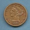 FIVE DOLLARD DE 1887 US CORONET HEAD - L. Gold (Or)