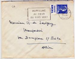"""MULLER - 1958 - PUB """"MARGARINE EXCEL"""" SUR ENVELOPPE De AURILLAC (CANTAL) Avec MECA Pour DOMPIERRE - Advertising"""