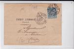 SAGE - 1890 - PERFORE C.L (CREDIT LYONNAIS) Sur LETTRE De PARIS GARE DU SUD-OUEST Pour COSNE - BORD DE FEUILLE - France