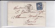 SAGE - 1879 - RARE PERFORE TRIANGLE (CREDIT LYONNAIS) Sur LETTRE De GRENOBLE (ISERE) - France