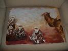 ART,belle Peinture Sur Toile,tableau,61cm X 46cm,AFRIQUE,AFRICA,BERBE RES,BERBERE DU DESERT,TOUAREG,CHECHE,CHA MEAU,SAHA - Huiles