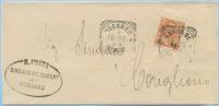 CALABRIA 1905 FLOREALE SOVRASTAMPATO C.15/20 ANNULLO RIQUADRATO ROSSANO (COSENZA) 8.10.05 A CORIGLIANO (3323) - Storia Postale
