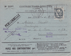 Lettre Contributions Directes Impots Lille Nord 1928 Type Blanc - 1900-29 Blanc