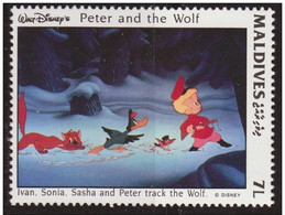 Maldivas 1993 Scott 1919 Sello ** Walt Disney Escenas De Peter And The Wolf 7L Maldives Stamps Timbre Maldives Briefmark - Disney