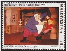Maldivas 1993 Scott 1920 Sello ** Walt Disney Escenas De Peter And The Wolf 15L Maldives Stamps Timbre Maldives Briefmar - Disney