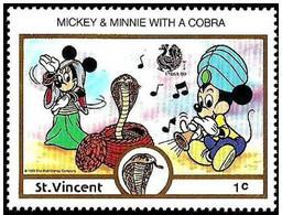 San Vicente 1989 Scott 1132 Sello ** Walt Disney India New Delhi Mickey Y Minnie Bailando La Cobra 1c Saint Vincent - Disney
