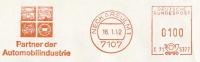 (832) Freistempel 7107 NECKARSULM 1, Vom 16.1.1992, Kolben, Automobilindustrie, Auto, Pkw, Lkw, Autozubehör, Ersatzteile - Automobili