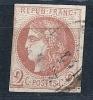 """YT 40B Report 2 ' Cérès émission De Bordeaux 2C. Brun-rouge """" 1870 Oblitéré Cachet à Date - 1870 Bordeaux Printing"""
