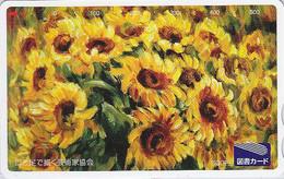 Carte Prépayée Japon - Fleur TOURNESOL - SUNFLOWER Japan Tosho Card - Blume Prepaid Karte - 1529 - Fleurs