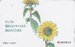 Carte Prépayée Japon - Fleur TOURNESOL - SUNFLOWER Japan Tosho Card - Blume Prepaid  Karte - 1535 - Fleurs