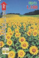 Carte Prépayée Japon - Fleur TOURNESOL - SUNFLOWER Japan Prepaid Card - Blume Karte - Hiro 1542 - Fleurs