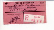 """De Redon - Fiche De Distribution De Colis Postal En Recommandé R 628 Cachet  Manuel * Au Verso """"Le Pin Au Haras """"61 - Colis Postaux"""
