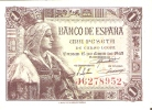 BILLETE DE ESPAÑA DE 1 PTA DEL 15/06/1945 ISABEL LA CATÓLICA SERIE J  CALIDAD EBC+ (BANK NOTE) - 1-2 Pesetas