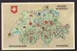 CPSM SUISSE - ILLUSTRATION CARTE DES 22 CANTONS SUISSES ET BLASONS - Svizzera
